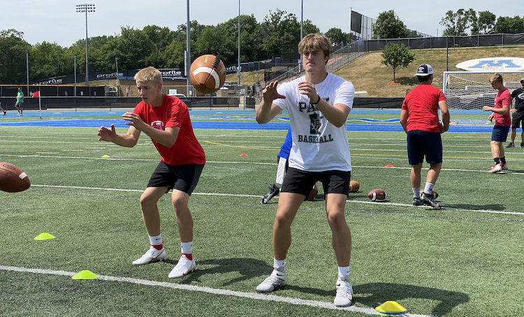 quarterback and wide receiver training sessions